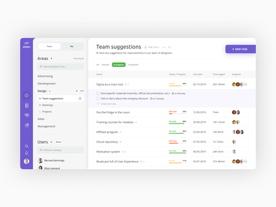 Management Tool business schedule workflows project task organize purple minimal clean ui web app tool management