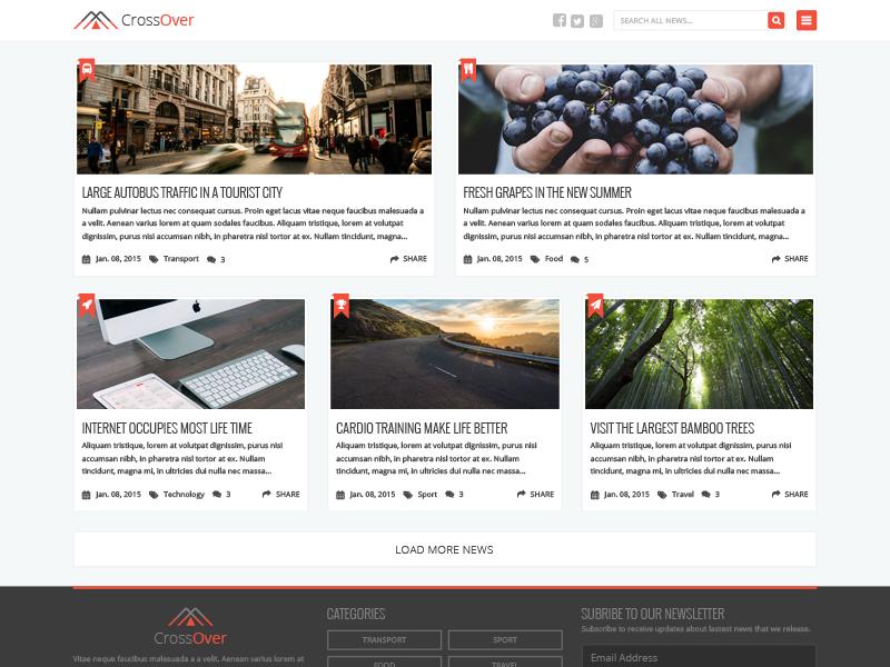 Free PSD - Homepage News Theme simple free psd theme news blog page template freebie