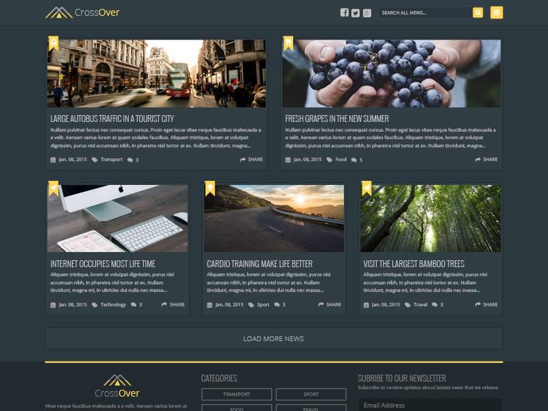 Free PSD - Dark Homepage News Theme simple free psd theme news blog page template freebie
