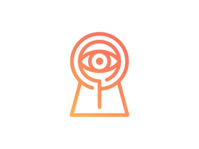 Keyhole + Magnifier Logo