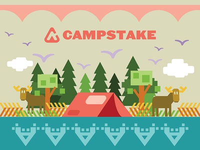 Campstake Campground outdoors nature moose illustration vector camp camping campstake