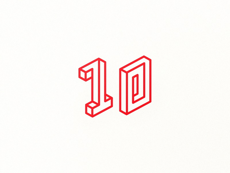 10 lines ten zero one numbers isometric