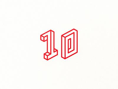 10 lines ten zero one numbers isometric