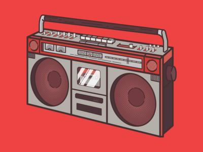 Boombox T-Shirt Illustration for 2DFam speaker logo 2dfam illustration design t-shirt radio boombox
