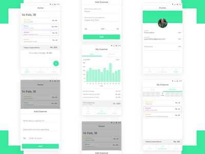 Expense Manager basic white user interface green chart minimal clean expense manager app design