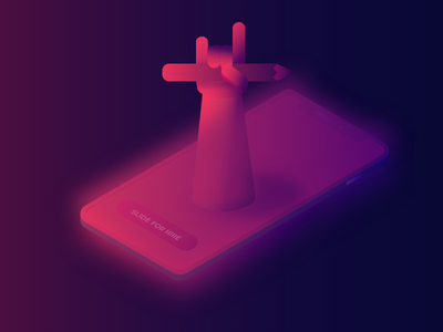 Isometric Illustration contact gradient phone hand ready for hire illustration isometric contact
