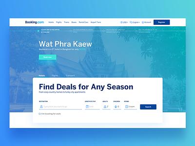 Booking.com - redesign concept web design fresh redesign ux ui trip travel booking.com