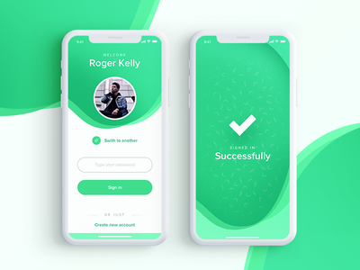 Sign In - Daily UI user interface sign in daily ui fresh application mobile green ui