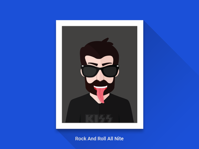 Rock And Roll All Nite - WIP wip picture rock tongue long shadow illustration kiss avatar