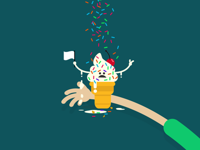 Mmmmmm...Froyo hot mess cherry hands flag face sprinkles cone froyo ice cream after effects illustration