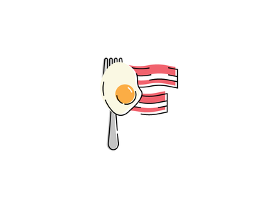 Breakfast First WIP wip fork fu lettering f bacon eggs breakfast