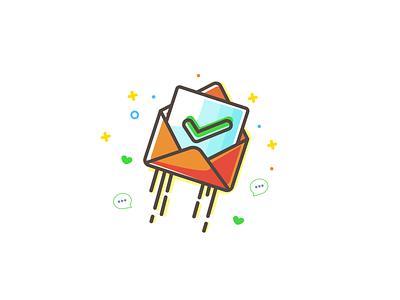 Popup Illustration verified magic letter orange illustration fly email pop-up