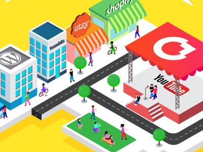 Social Media City social media market people street architecture city etsy youtube 3d illustration yellow isometric