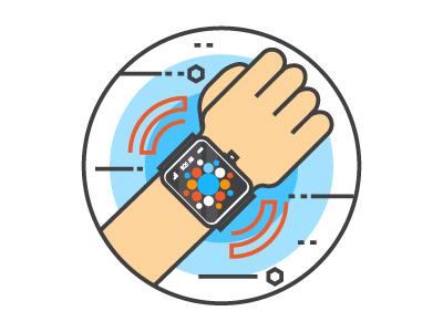 Smart Watch On Wrist flat-icons future digital technology smartwatch