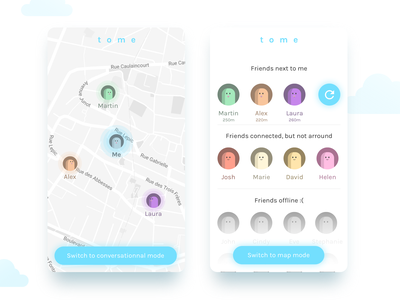 Messaging Concept App - Map & Messages screens localization map ui mobile messaging messages interaction concept application app animation
