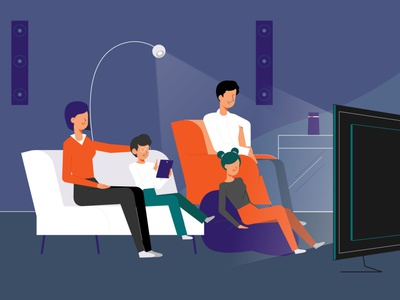 Monclick broadcast 15 sec spot - Family ecommerce alexa family livingroom broadcast tv spot illustration after effects character design deckard977 mauro mason animation motion design motiongraphics