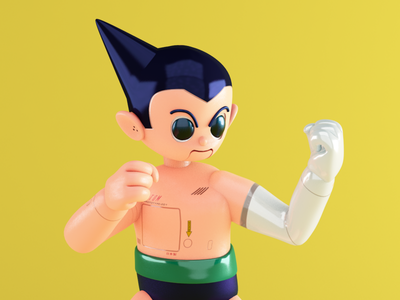 ASTRO BOY / Tetsuwam ATOM tribute 09 fight cyberpunk android robot astroboy astro boy osamu tezuka fanart anime manga c4d cinema 4d 3d modelling 3d art 3d illustration illustration motion design