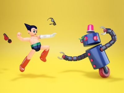 ASTRO BOY / Tetsuwam ATOM tribute 11 fanart anime manga cyberpunk android robot astro boy astroboy atom fight 3d modelling 3d art 3d illustration illustration motion design