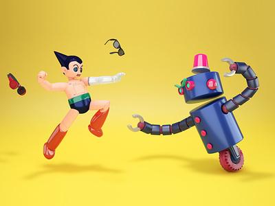 ASTRO BOY / Tetsuwam ATOM tribute 11 fanart anime manga cyberpunk android robot astro boy astroboy atom fight 3d modelling 3d art 3d illustration illustration motion design