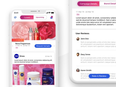 Current Campaigns products beauty samples current timeline posts campaigns brand app uiux ui design