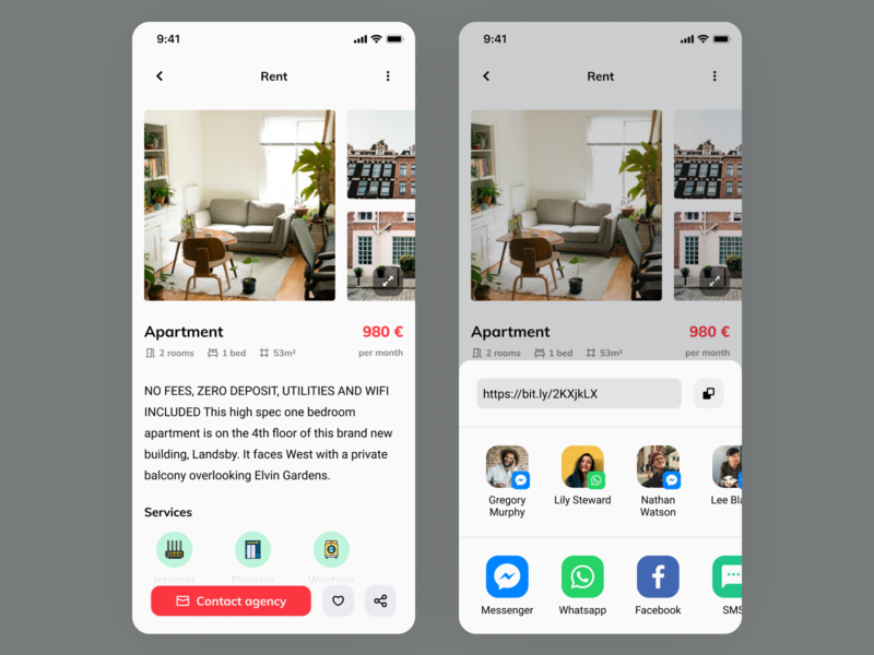Daily UI #10 - Social Sharing share button renting app rent appartment sending sharing share dailyui