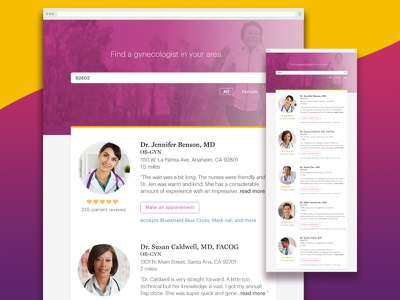 Search for gynecologist  gynecologist female doctor minimalistic modern landing page doctor health appointments product product design ui interaction design