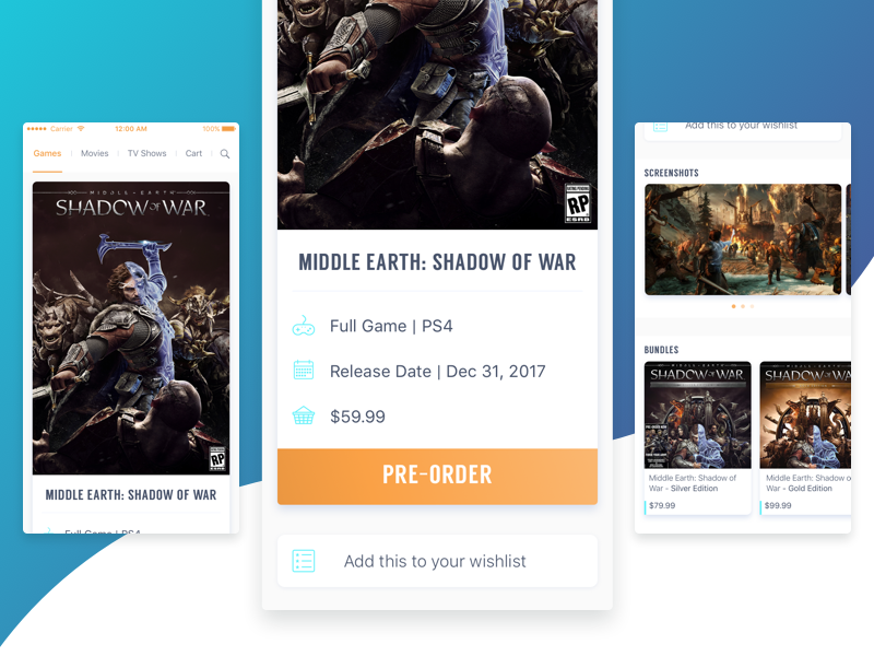 Middle Earth: Shadow of War iphone ps4 video game game app interaction design ui product design mobile ios