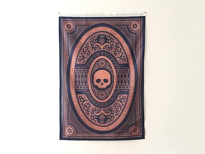 Flag skull gaelic scotland ornate illustration design flag