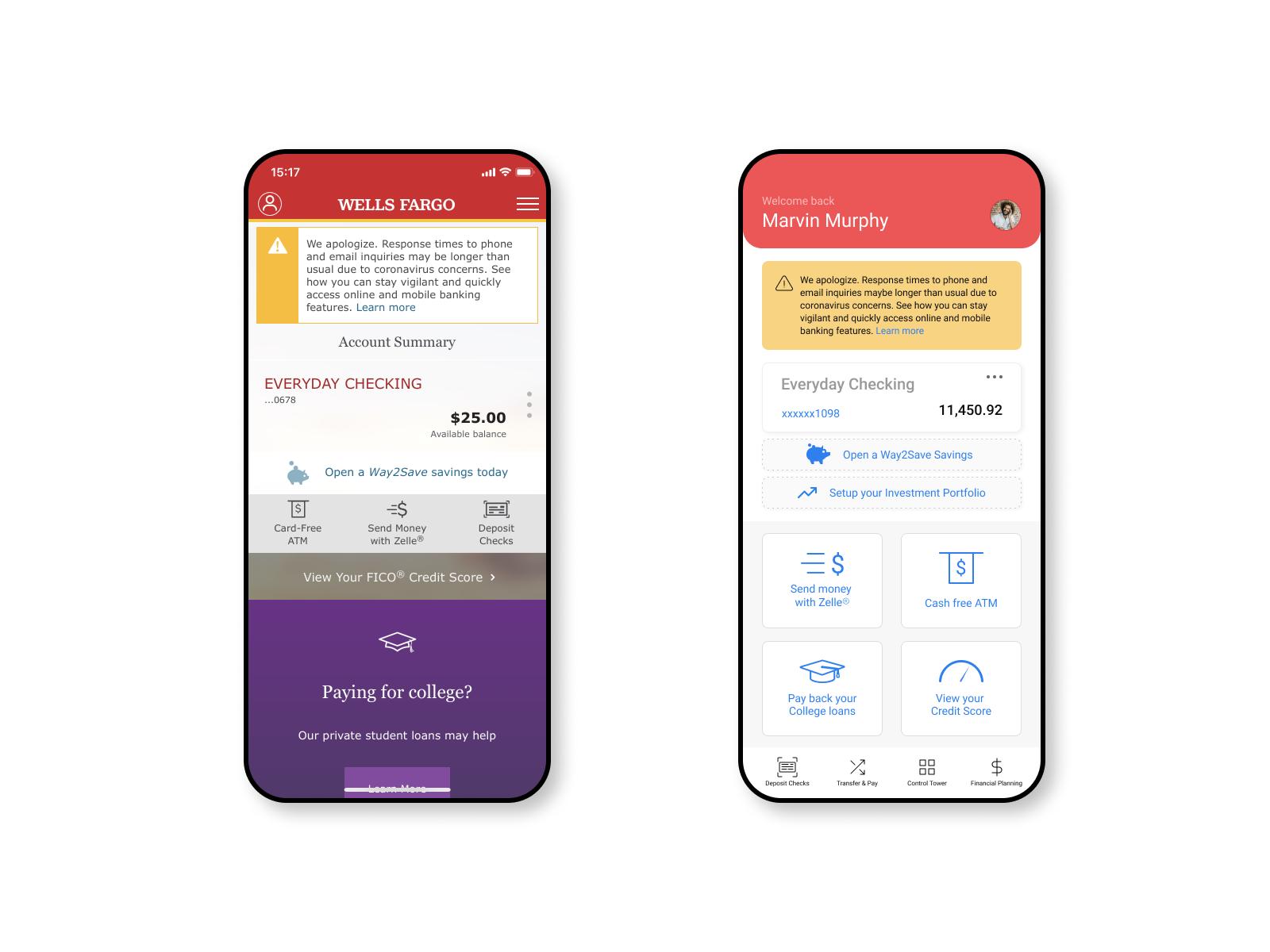 Wells Fargo iOS mobile app redesign