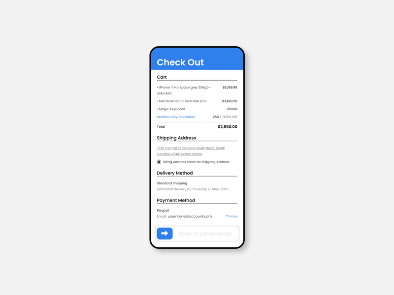 Checkout Screen - Mobile figma concept mobile ui flexible easy to reach app ui design clean ui flat