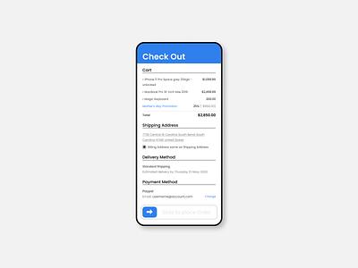 Checkout Screen - Mobile figma concept mobile ui flexible easy to reach app ui design clean ui flat