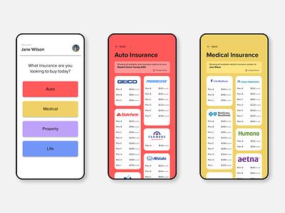 Insurance Buying App figma concept mobile ui app design