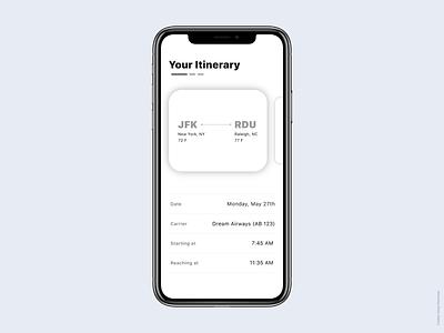 Trip Itinerary simple design iphone xs iphone x clean ui mobile app design mobile ui design ui app
