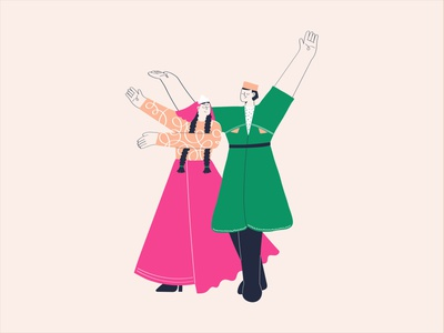 Azeri Dance party dance party happy music azerbaijan haircut clothes woman man dancing dance vector minimal design illustration