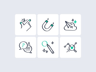 Icons analysis report custom message support notification engage easy flat icon ux vector ui website minimal design illustration