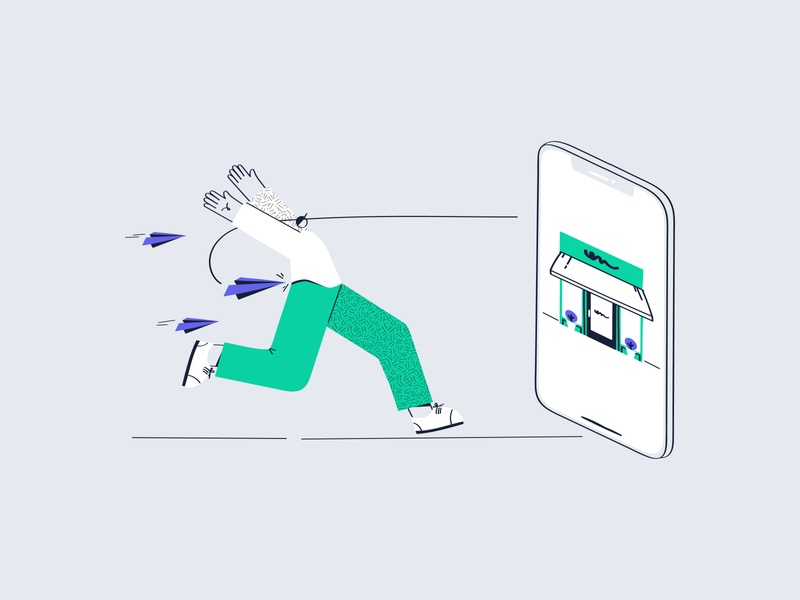The power of push notification flatdesign flat illustration online shop push notification shop characterdesign character notification website minimal design illustration