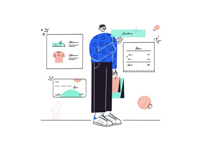 Shopping flat payment app bill onlineshopping shopping payment characterdesign character ui minimal design illustration