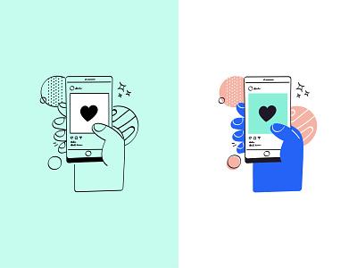 Like phone hand instagram social media socialmedia social notification minimal design illustration
