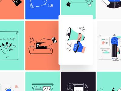 Vidily Illustrations - 40+ Illustrations pack🔥 website ui8 illustration kit illustration design ecommerce characters character design characterdesign notification character design illustration