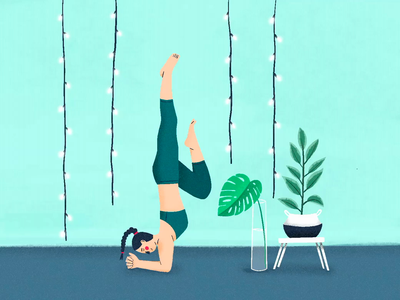 Yoga procreate art procreateapp procreate plant yoga pose yoga characterdesign minimal design illustration