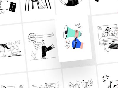 Vidily Illustartion Kit illustrations finance shopping ui8 illustration kit illustration pack characterdesign character minimal design illustration