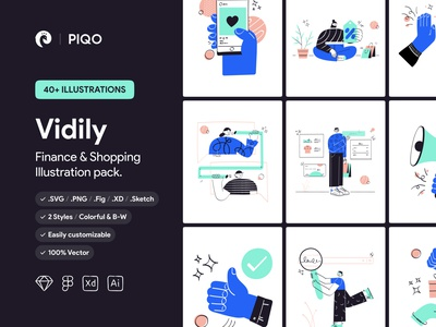 Vidily Illustartion Kit illustrations finance shopping ui8 illustration kit illustration pack characterdesign character minimal design illustration