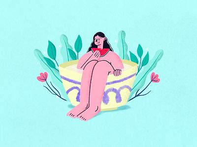 Summer swimming watermelon summer procreate art procreateapp procreate character vector design illustration