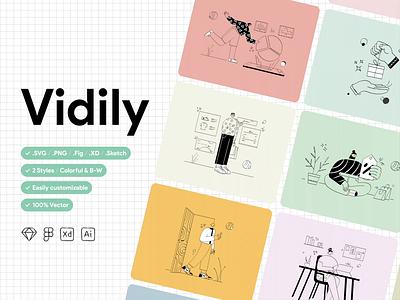Vidily Illustartion Kit illustration pack illustration kit characterdesign vector character website minimal design illustration