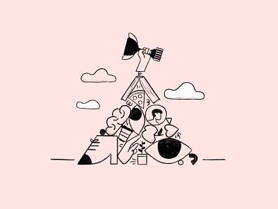 WE CAN procreate app procreate art procreate team logo teamwork team success winners winner character minimal design illustration