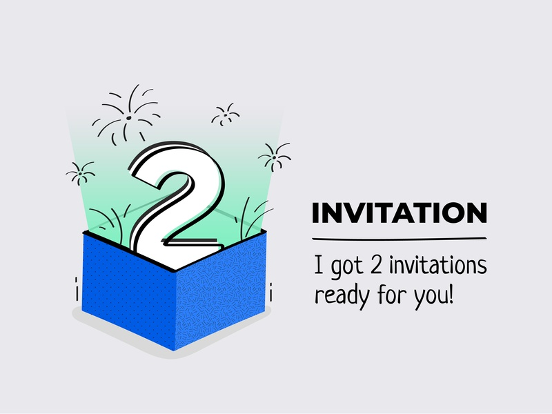 Invitation happy sparkle gift notification illustration dribbble invitation dribbble invites gift box box vector design invitations invitation invite dribbble