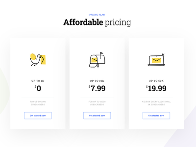 Pricing Plan ui icon website mailbox messages pricing plan pricing message macbook bird illustration