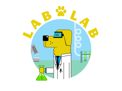 Laboratory Labrador pun cartoon illustration laboratory lab character dog labrador