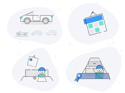 Lenny Car Insurance - Animations animated illustrations motion design motion 2d animation app animation animated svgs line drawing vector animation vector illustration animation vector web design ios app illustration product design app ux ui