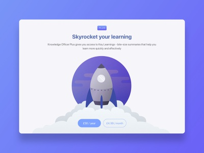 Knowledge Officer - Upgrade Prompt full screen modal texture minimal learning app learning platform learning pricing prompt upgrade upgrade prompt rocket illustration interface web app product design app ux ui